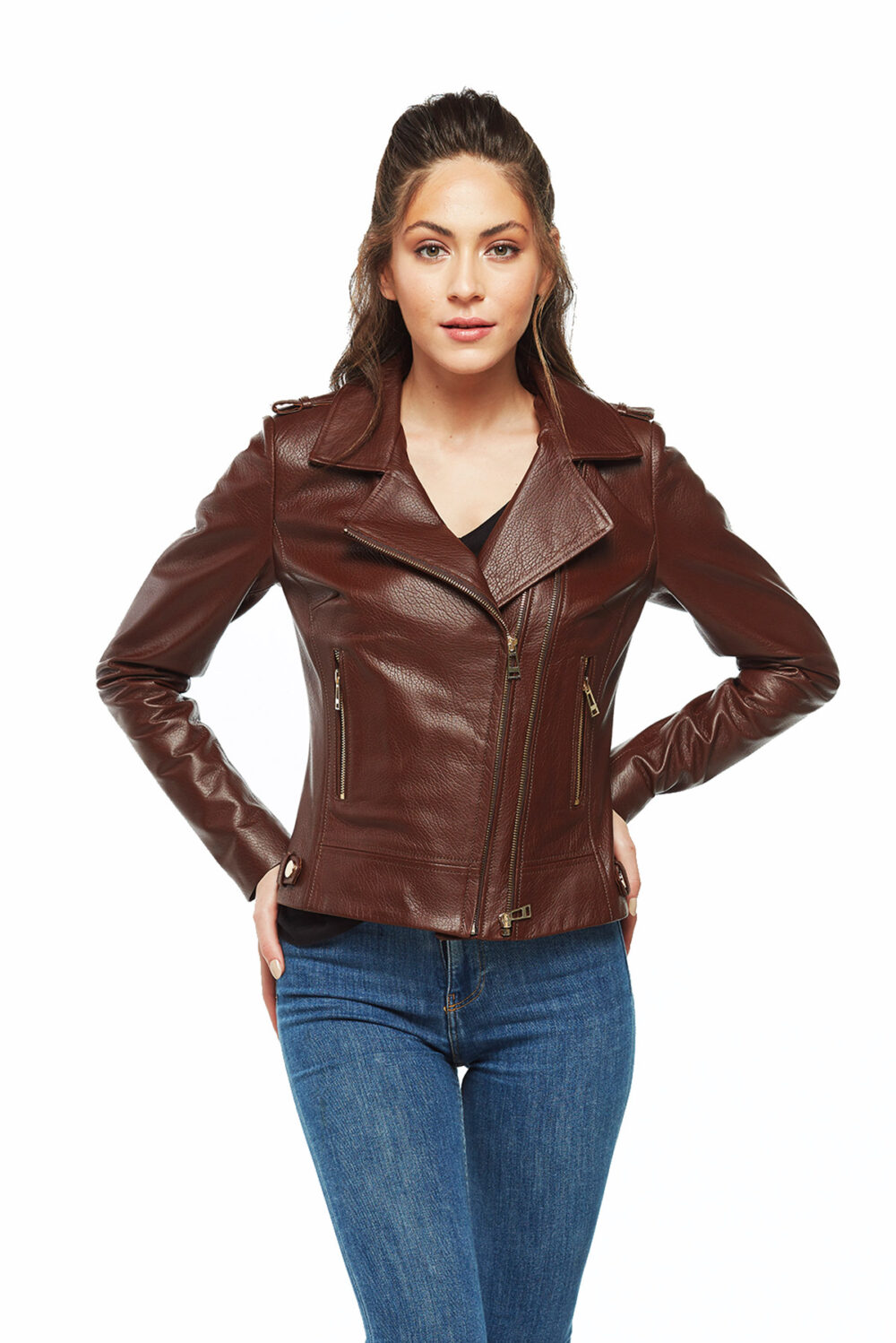 half leather jacket womens