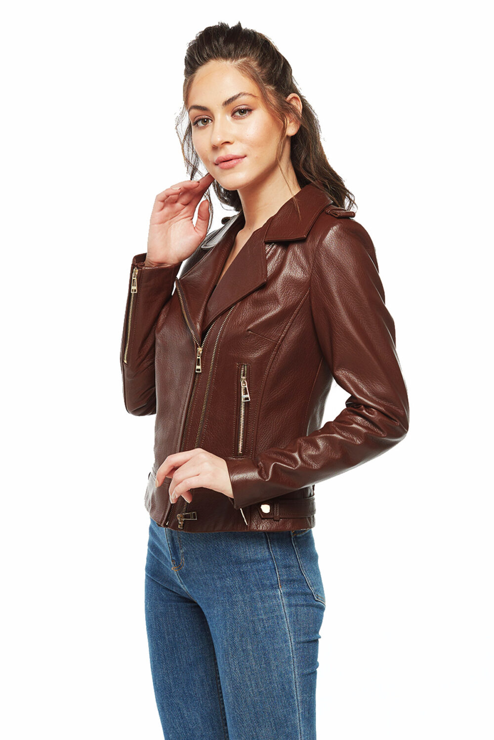 dark brown leather jacket outfit womens