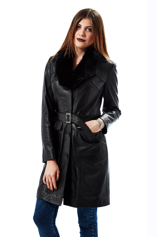 women's 3/4 length winter leather coats