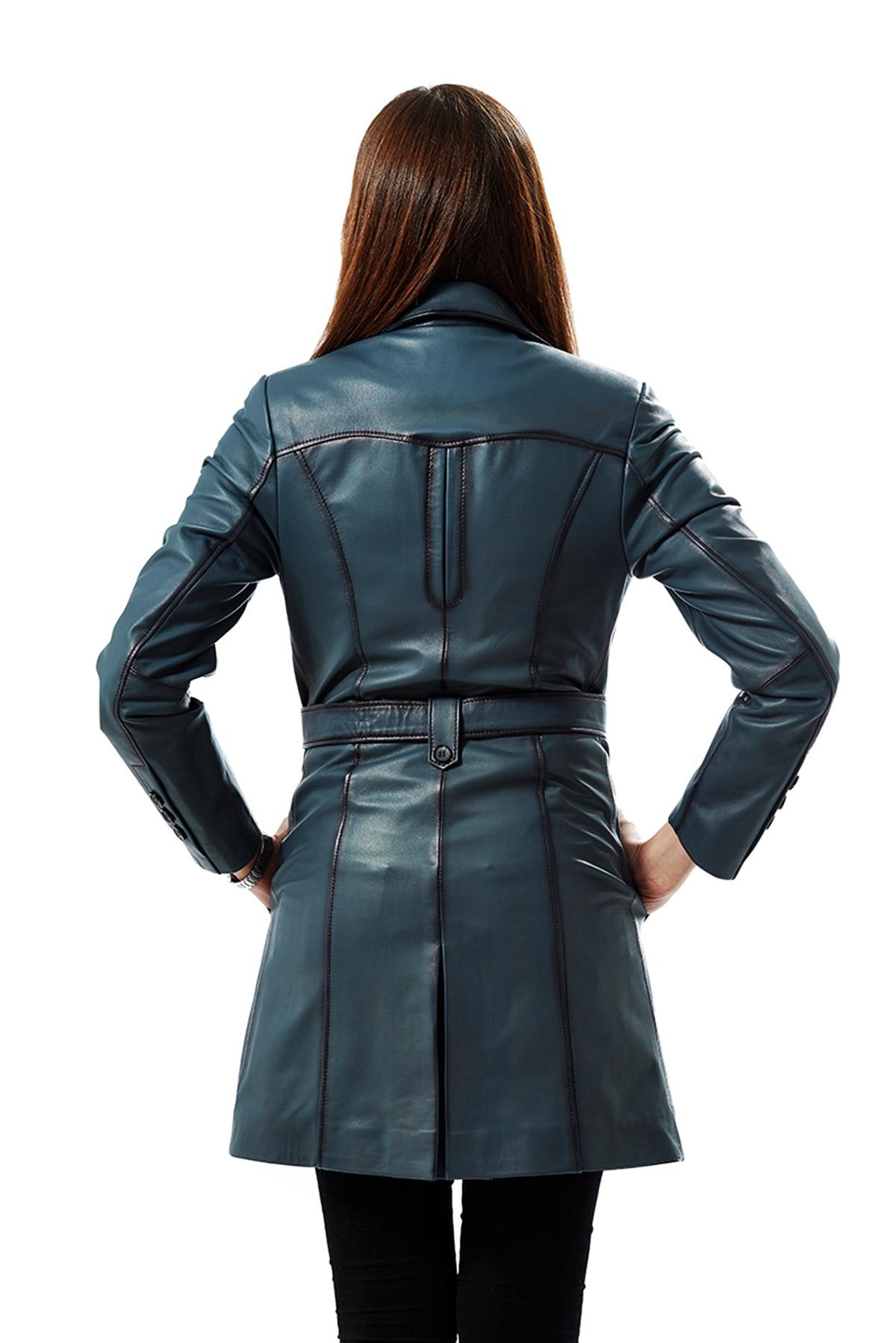 women's blue leather jacket