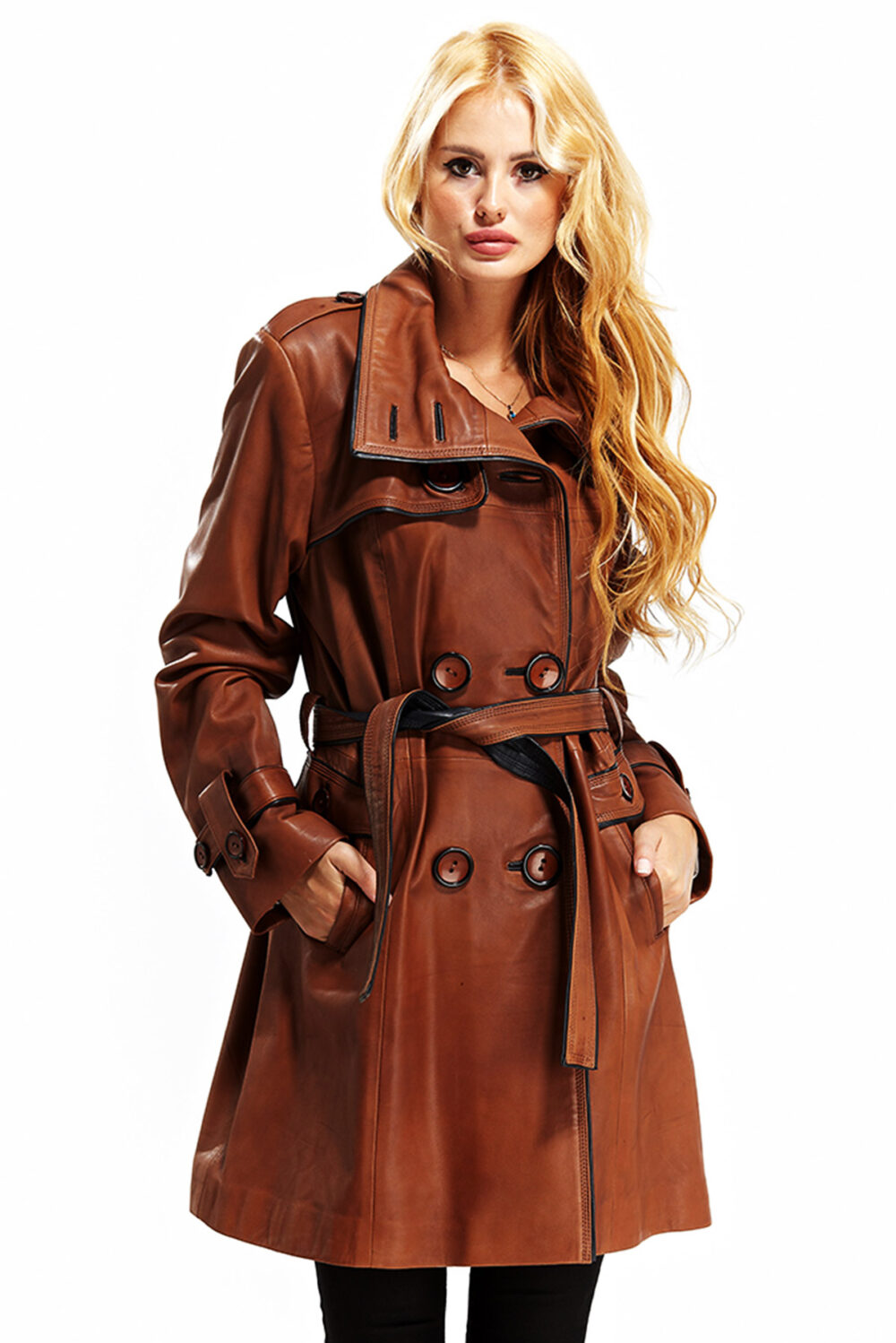 high class womens brown leather jacket