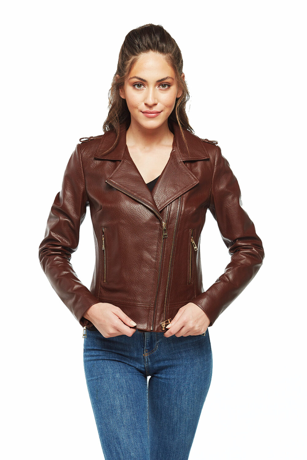 tan leather jackets womens