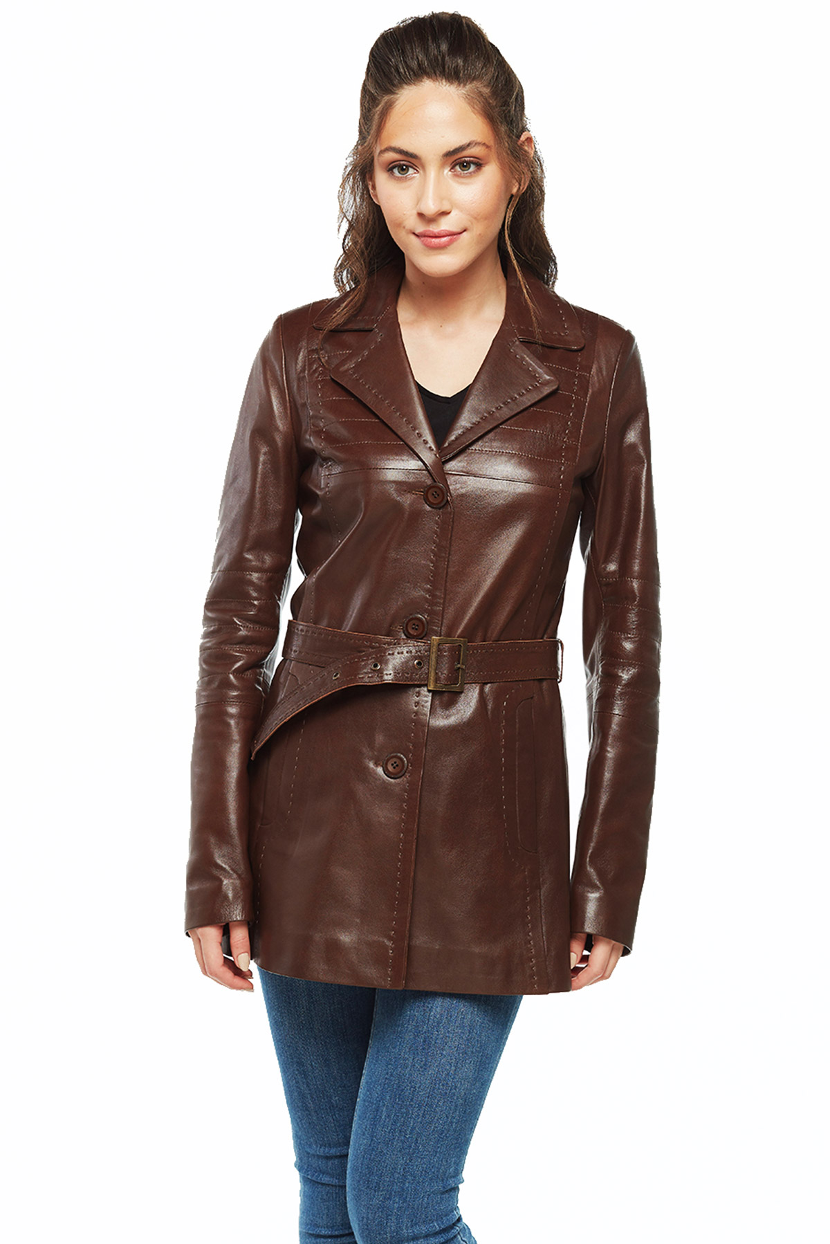 womens long leather trench coat