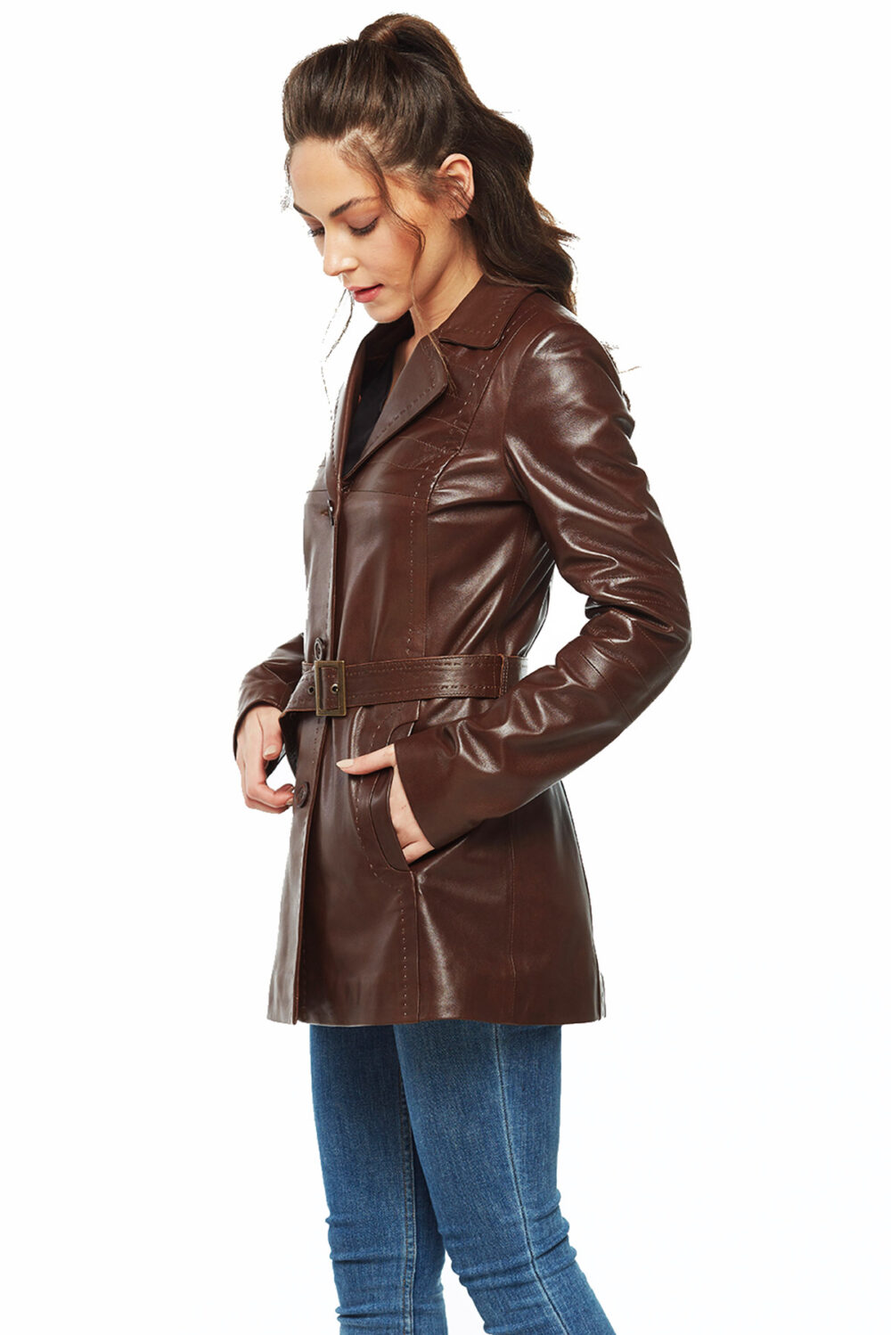 ladies brown belted leather coat