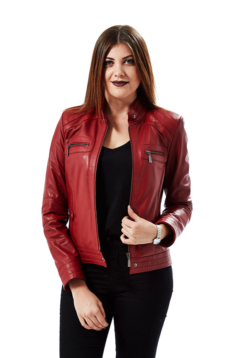 red crop leather jacket