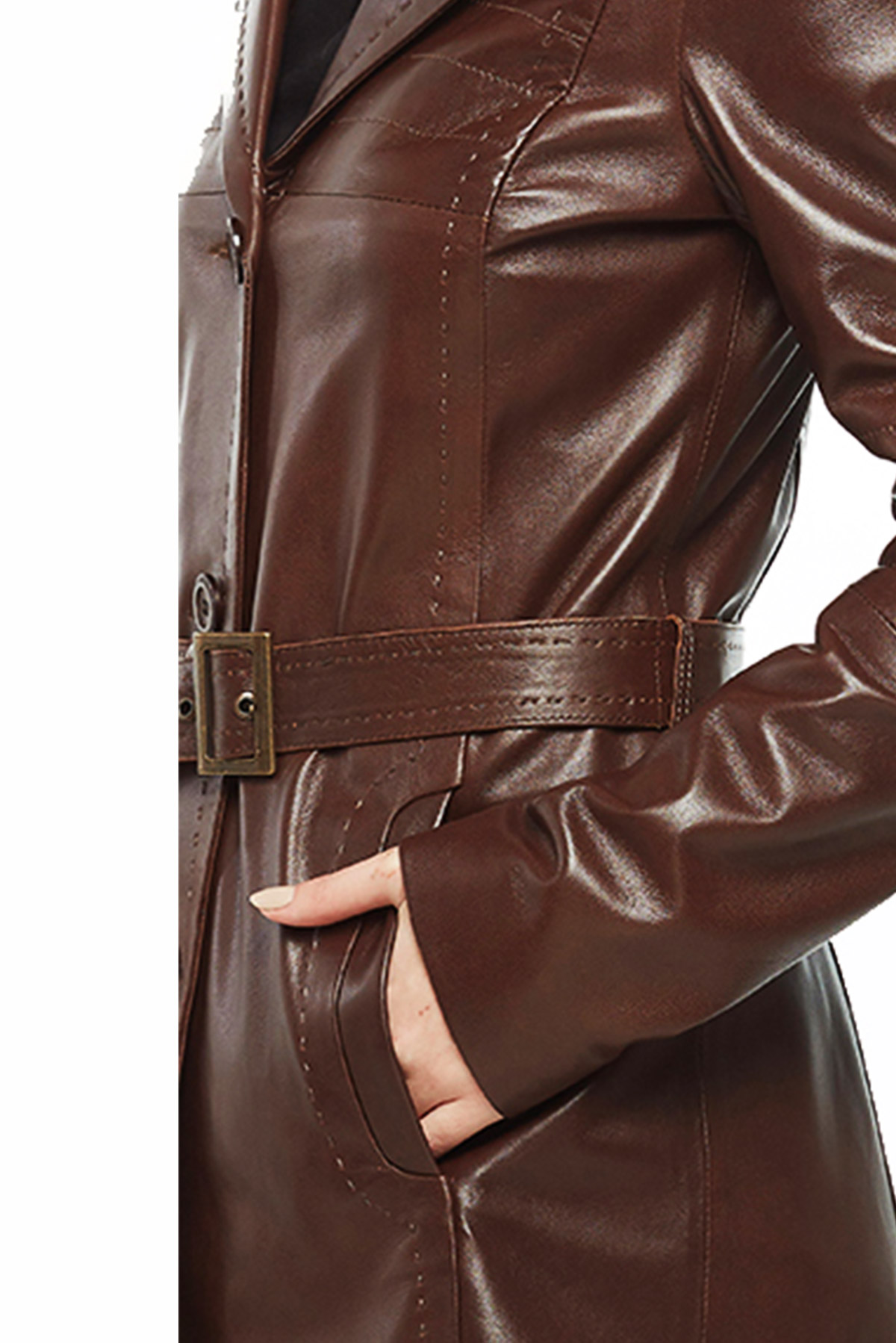 womens brown belted leather trench coat