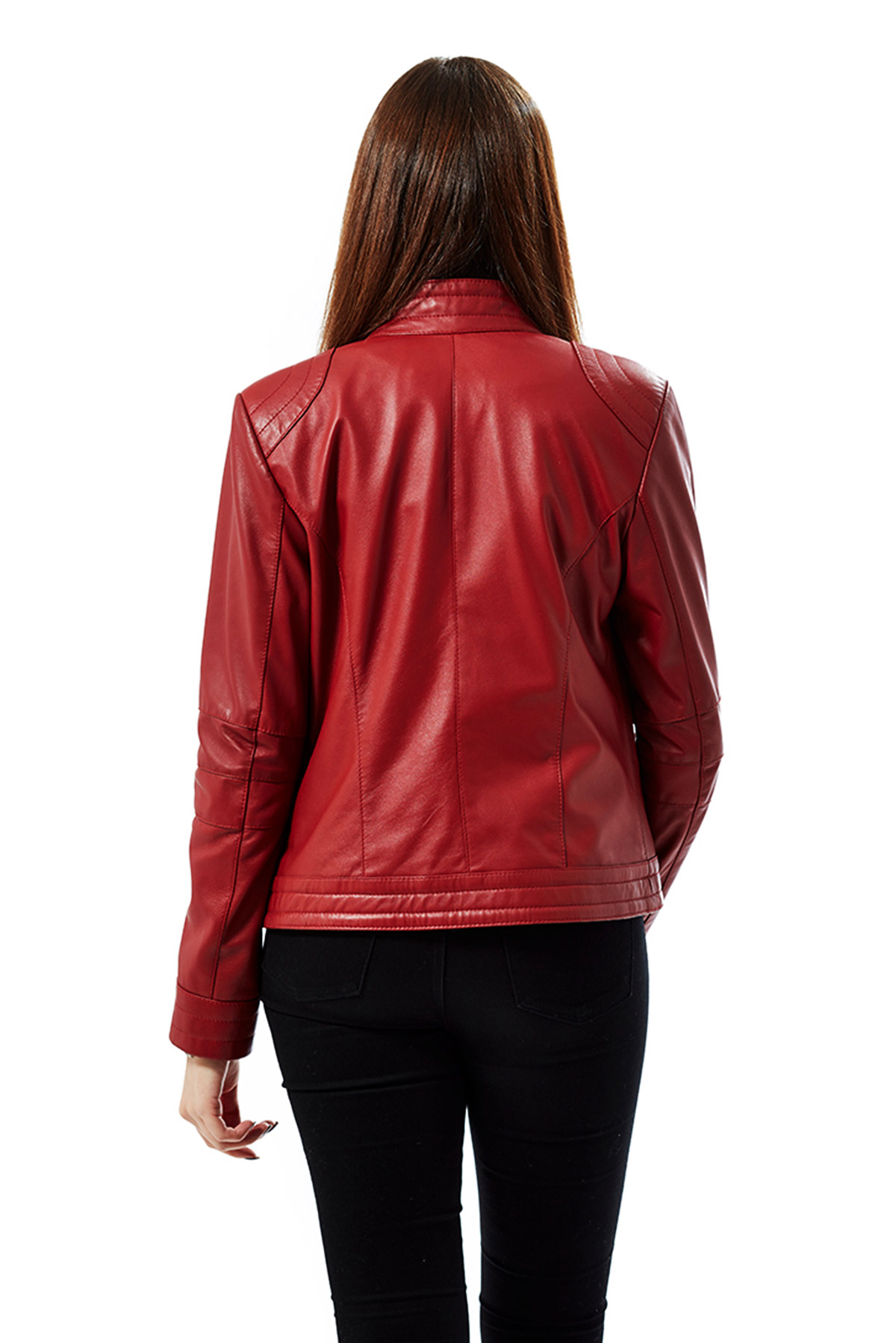 red leather jacket long