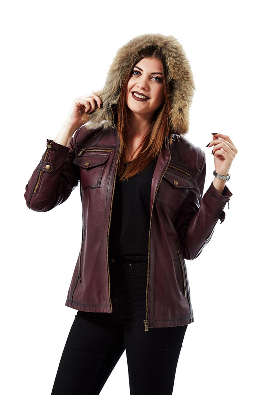 Carmen Waxed Maroon Women's Leather Jacket