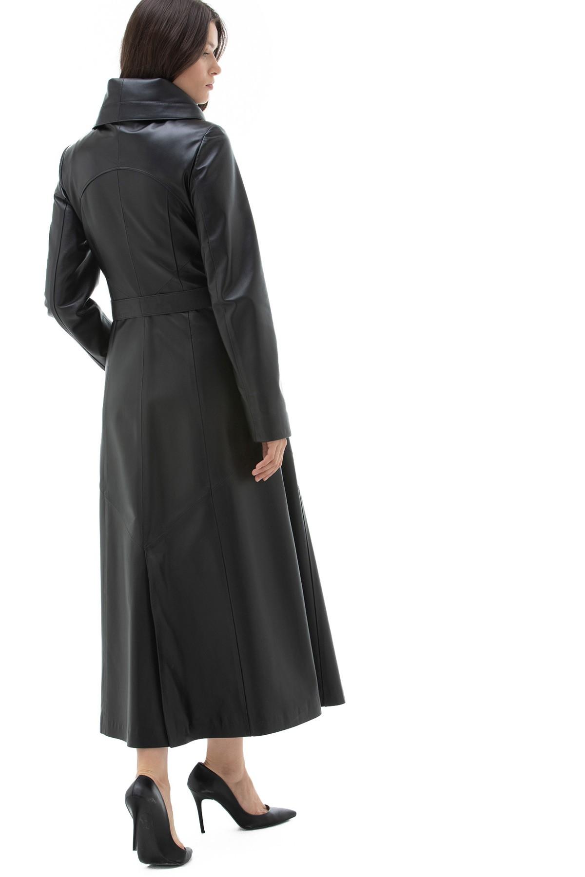 Womens Black Leather Coat