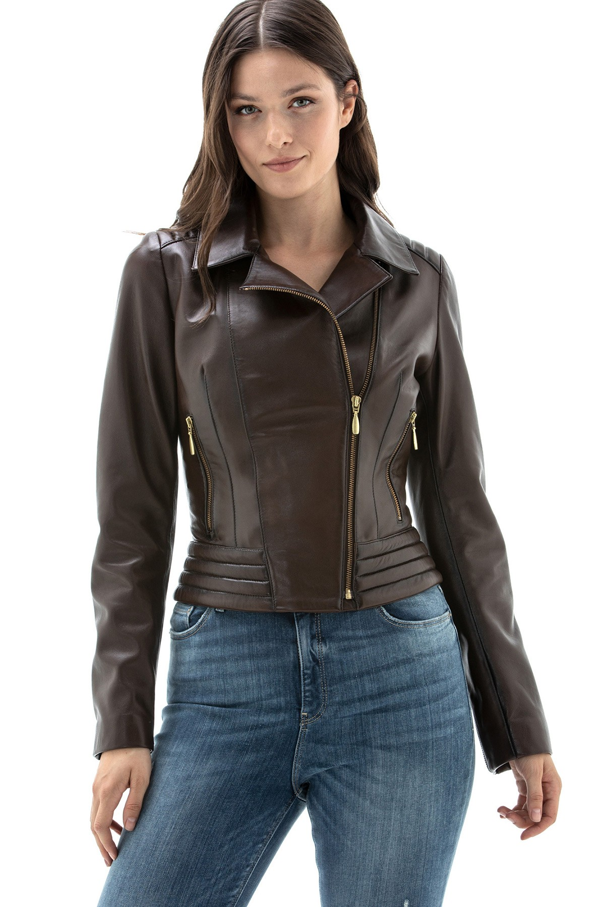 Brown Distressed Leather Jacket Womens