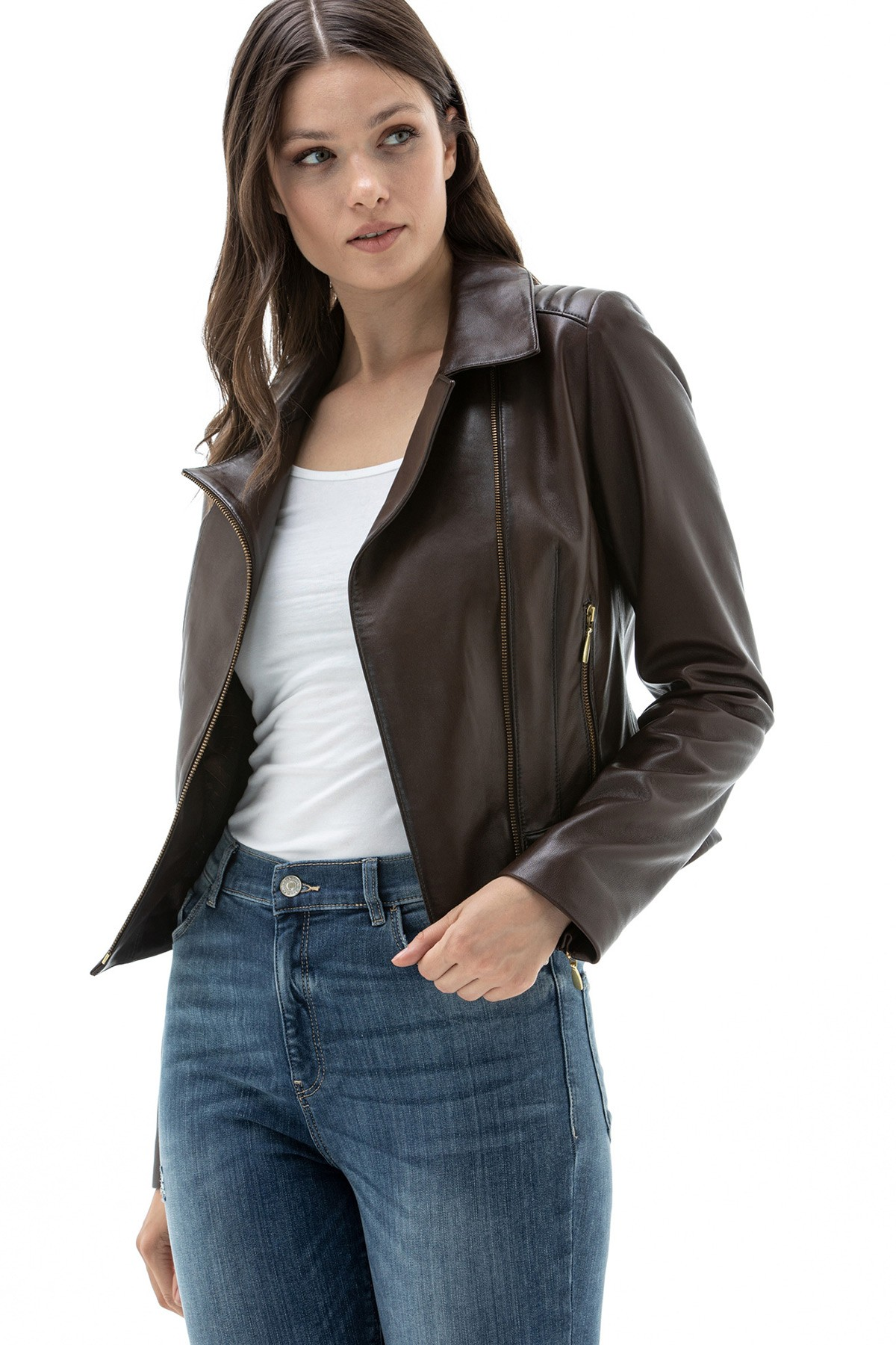 Fitted Leather Jackets Womens
