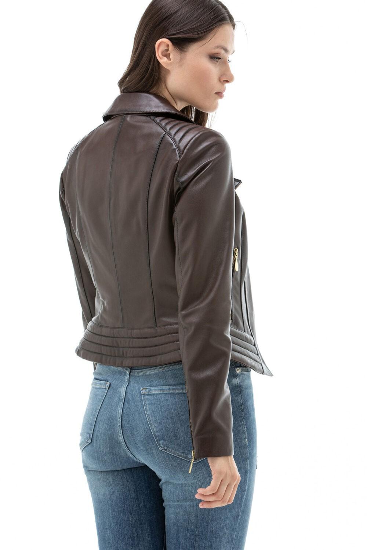 Real Leather Biker Jacket Womens