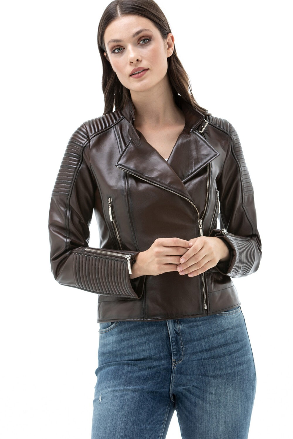Real Leather Biker Jacket Womens
