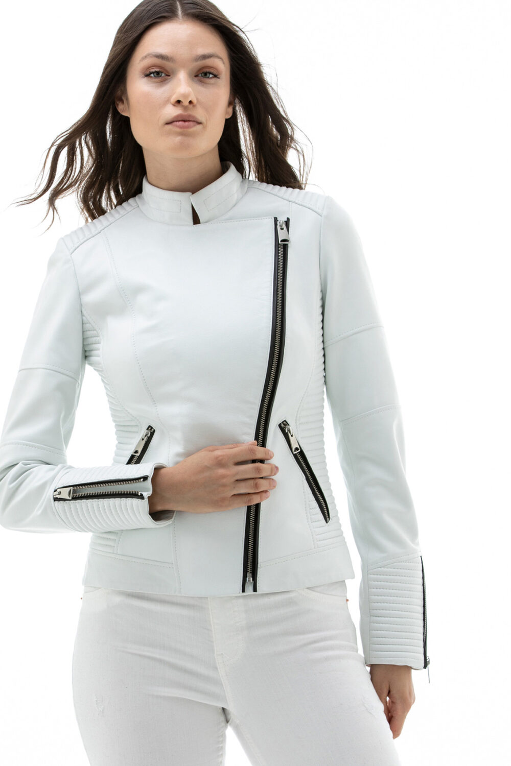 Women's White Leather Jacket