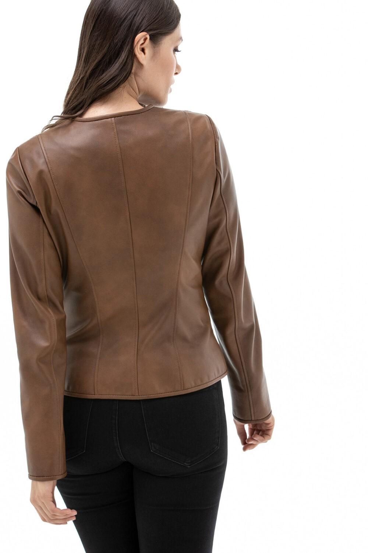 Short Brown Leather Jacket Ladies
