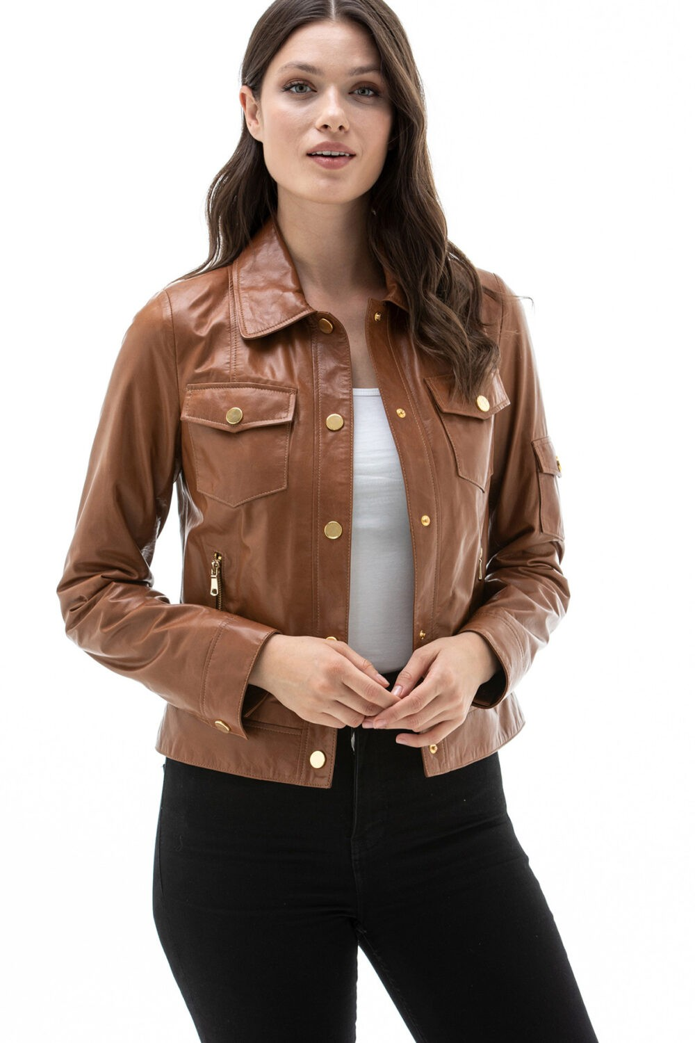 Brown Leather Jacket For Girl