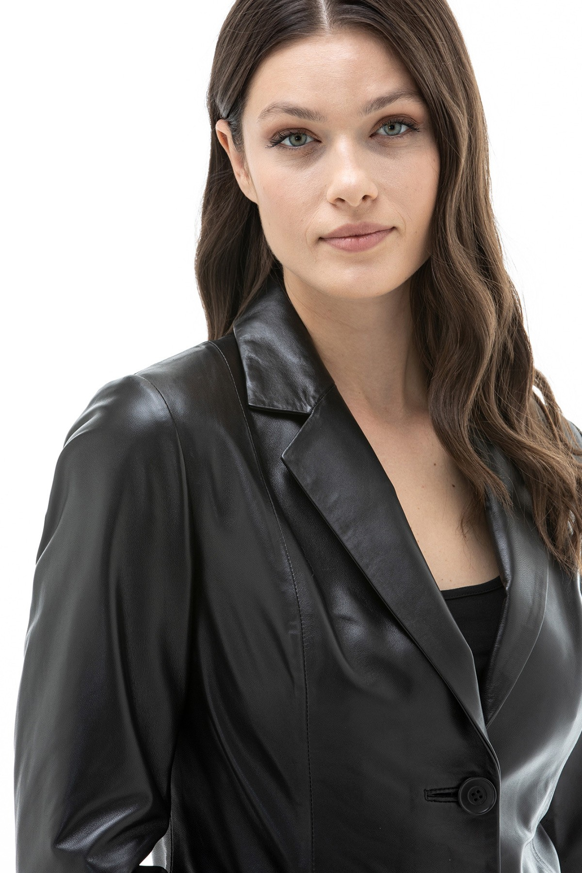 Ladies Black Leather Blazer Jacket