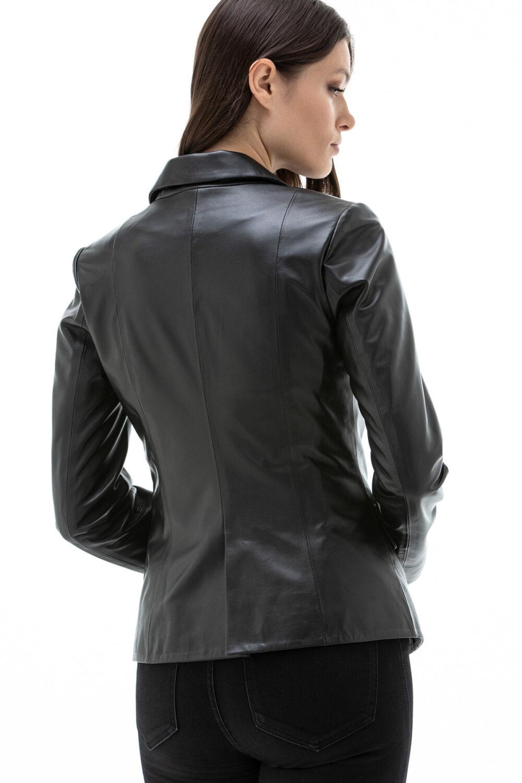 Black Leather Jacket Blazer Style