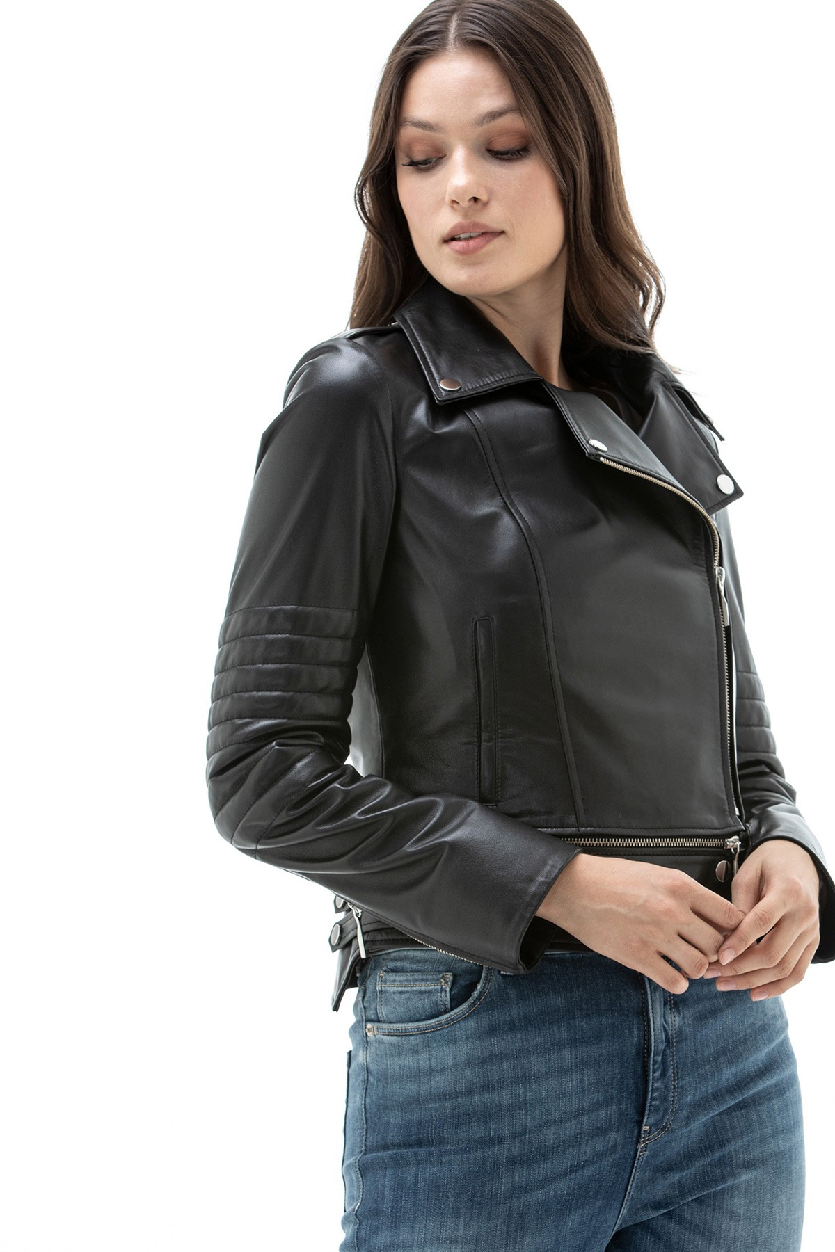 Fitted Leather Jacket Womens