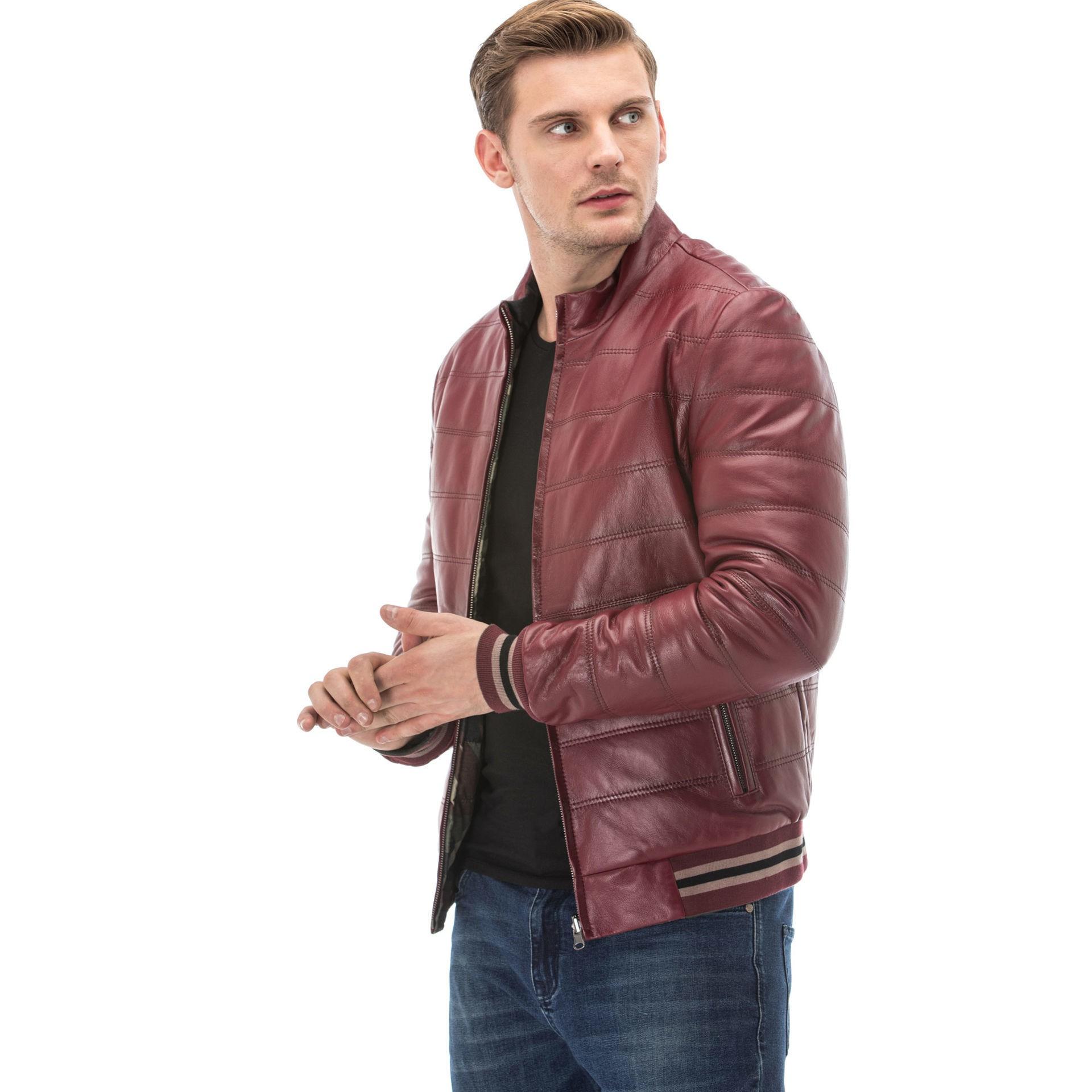 Men's Burgundy Double-Sided Leather Jacket
