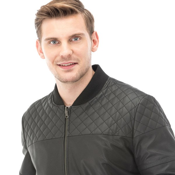 Men's Black Matte Perforated Quilted Leather Jacket