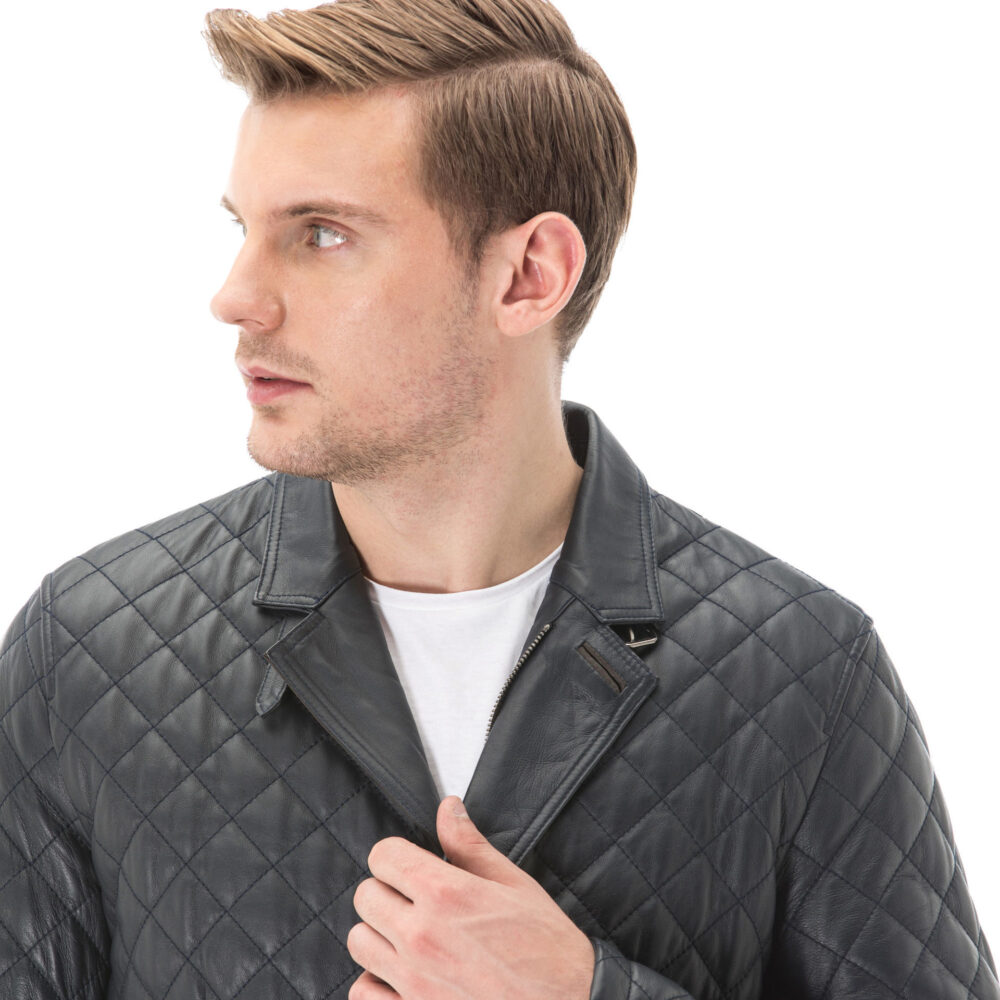 Men's Matte Black Quilted Embroidered Leather Jacket