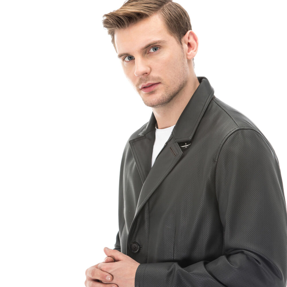 Men's Black Perforated Slim Fit Blazer Leather Jacket