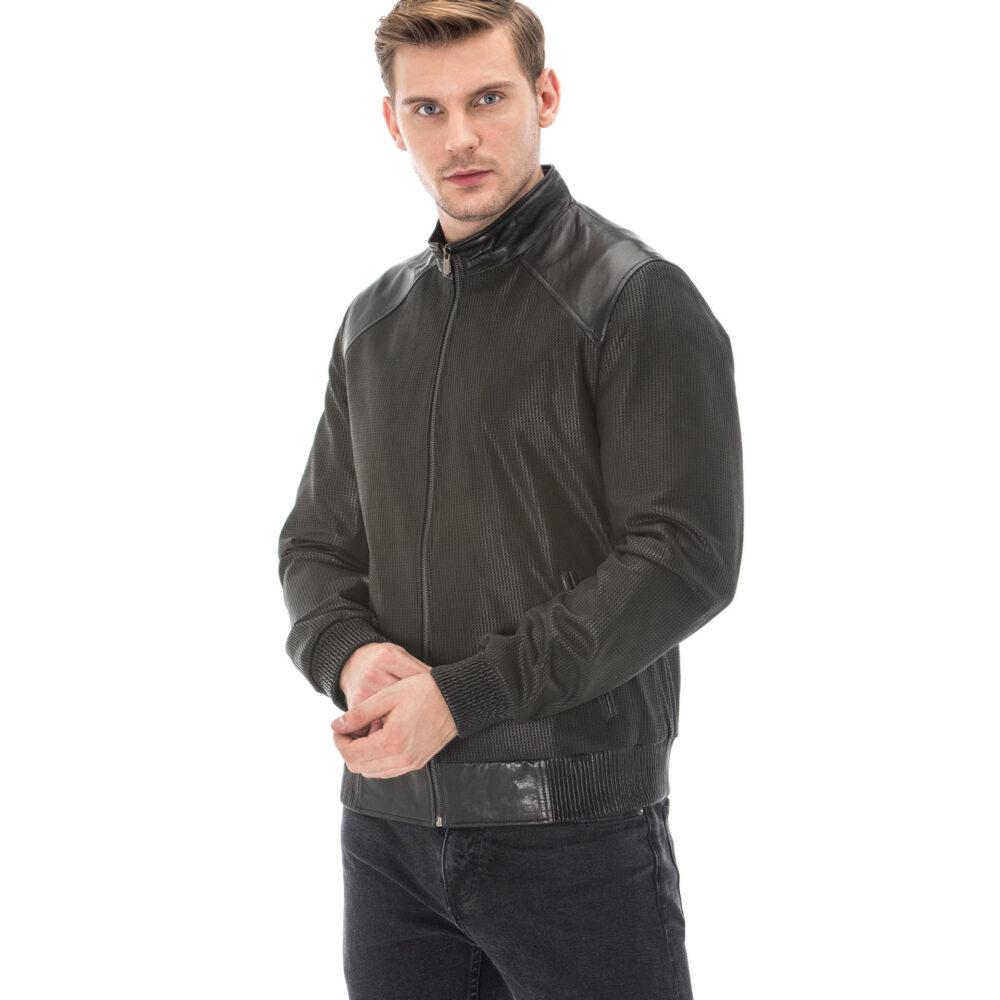 Men's Square Printed Vegetal Leather Jacket