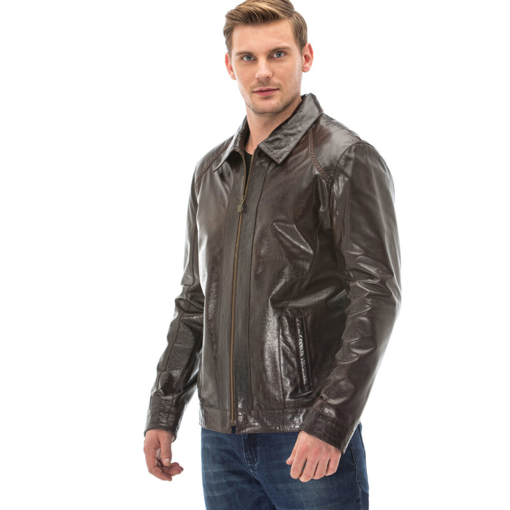 Leather Jacket Brown Mens