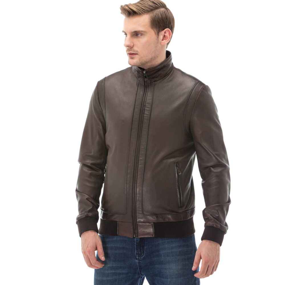 Dark Brown Leather Jacket Outfit Mens