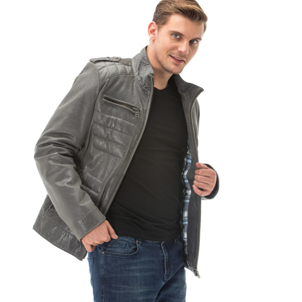 Gray Leather Jacket Mens