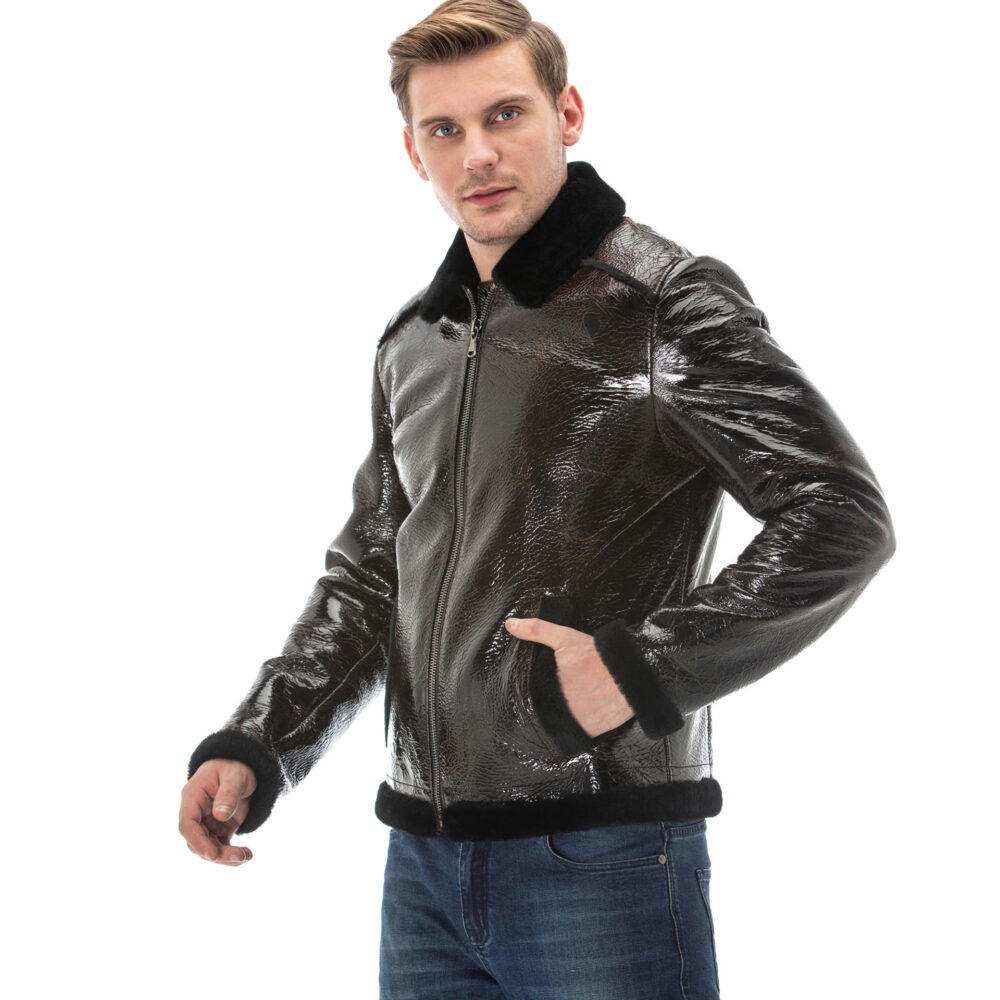 Mens Black Leather Jacket With Fur