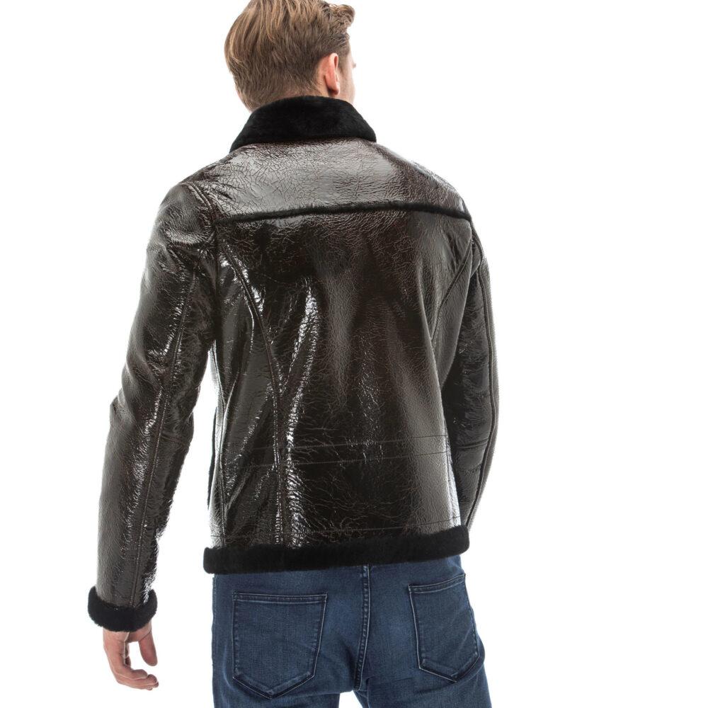 Men's Black Patent Leather Jacket