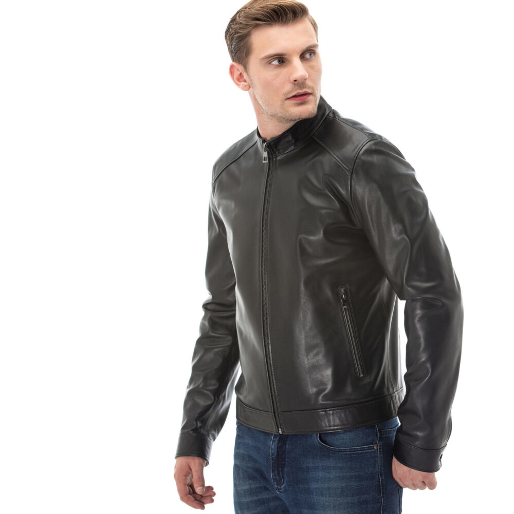 Mens Leather Shearling Aviator Jacket