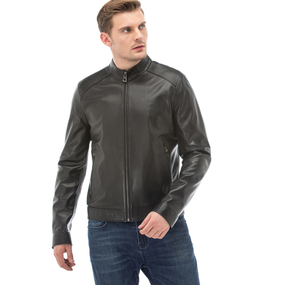 Black Shearling Aviator Jacket Mens