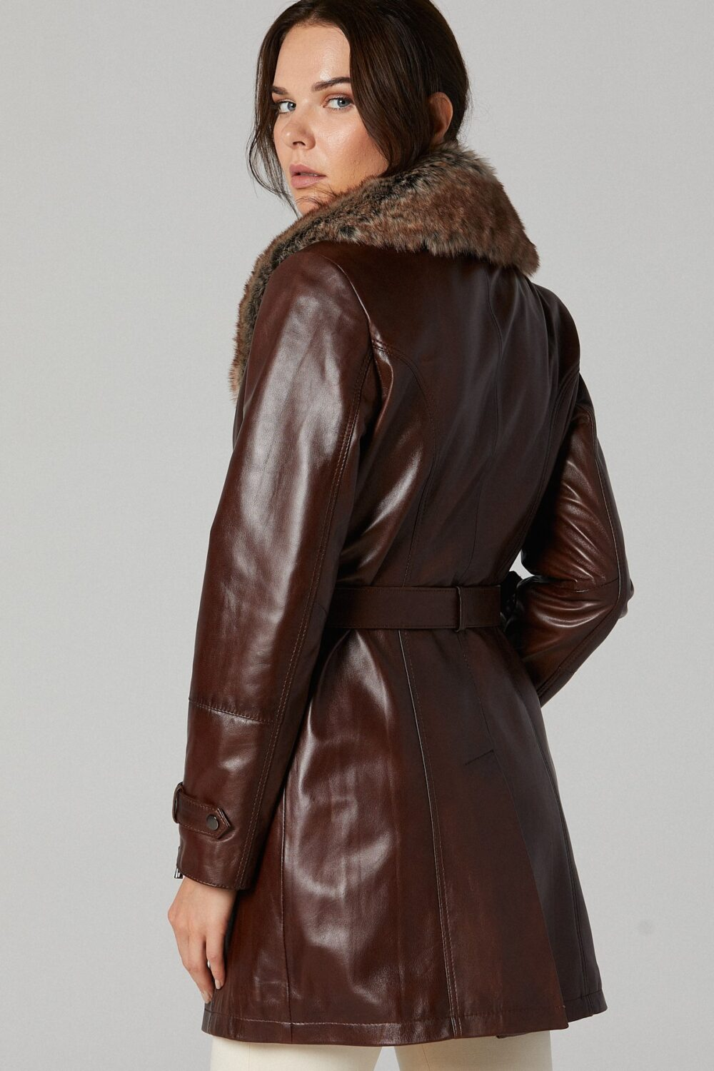 Long Leather Coat With Fur Collar