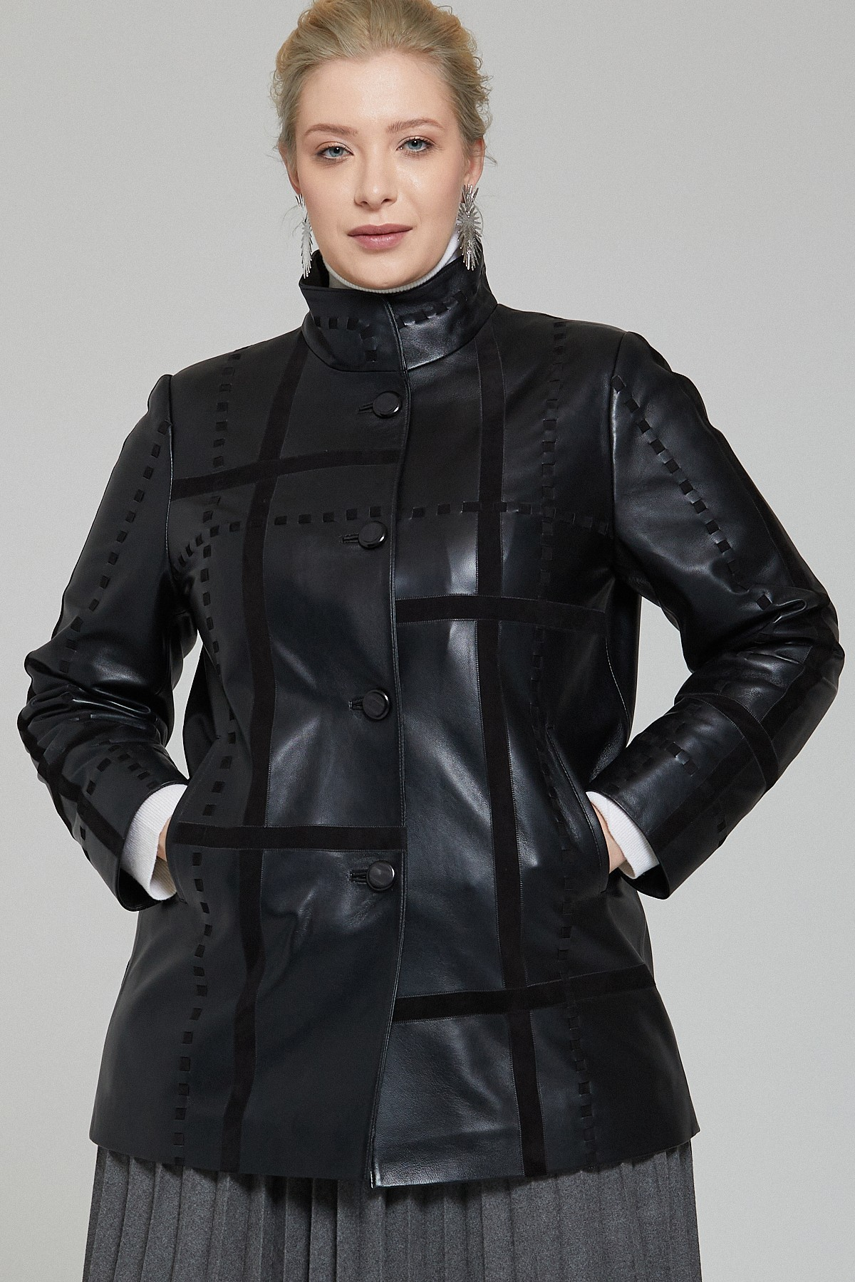 Mid Length Leather Jacket Womens