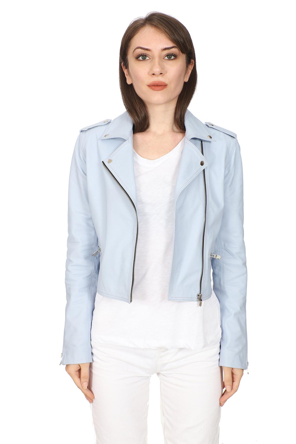 Baby Blue Leather Jacket