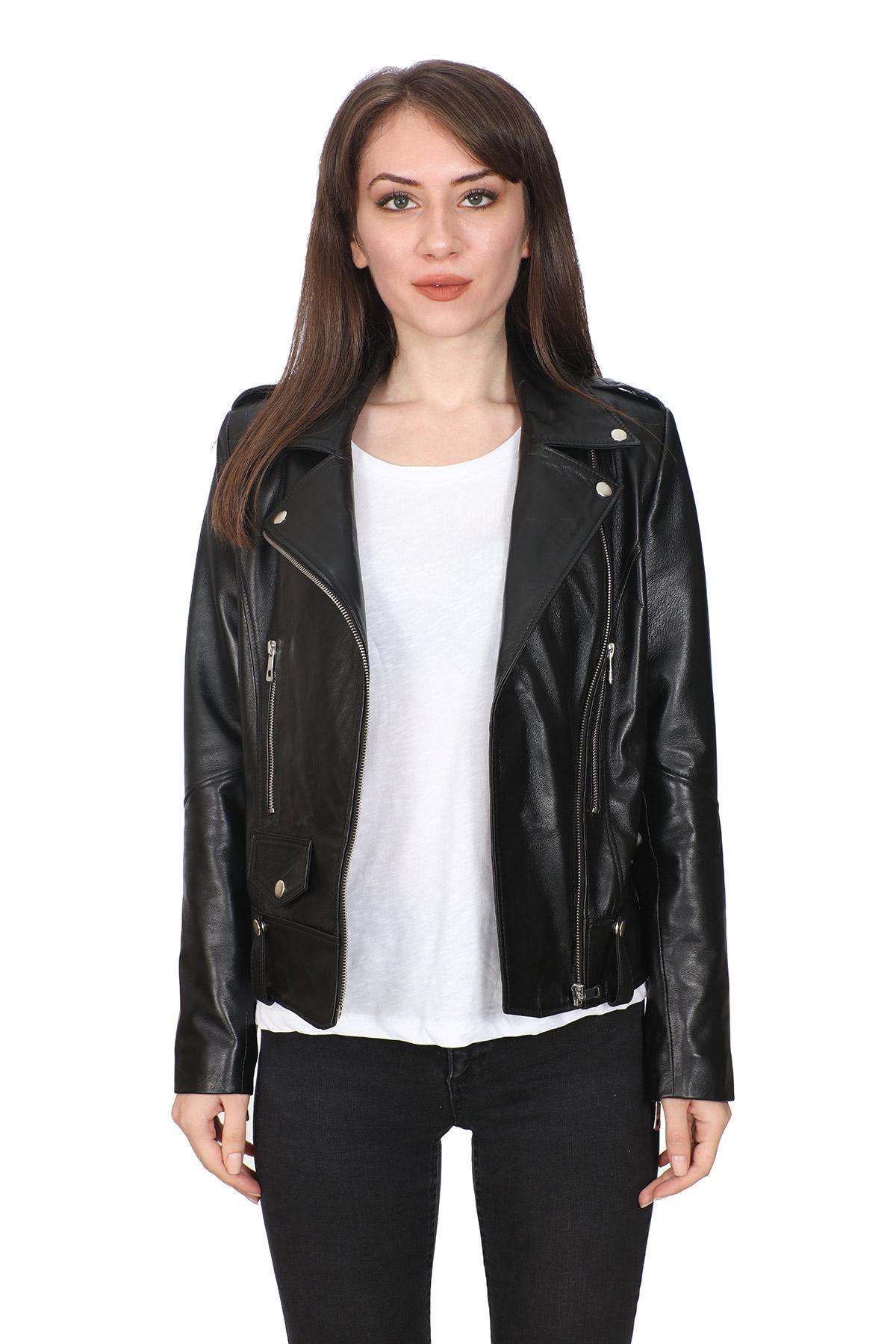 Zoe Black Women's Sporty Leather Jacket