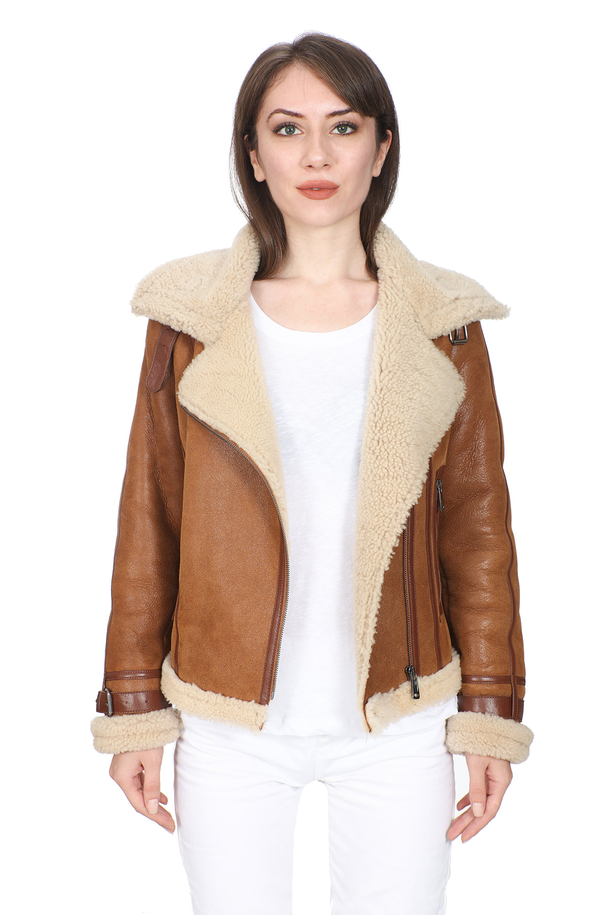 Fur Leather Jacket Womens