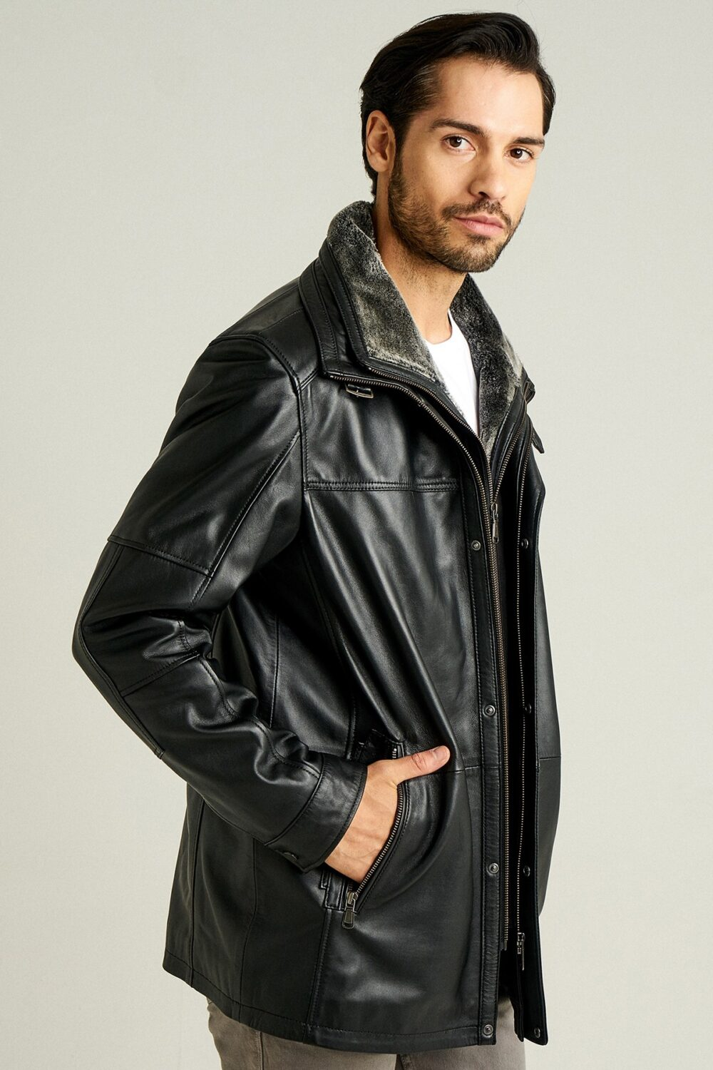 Leather Jacket In Winter