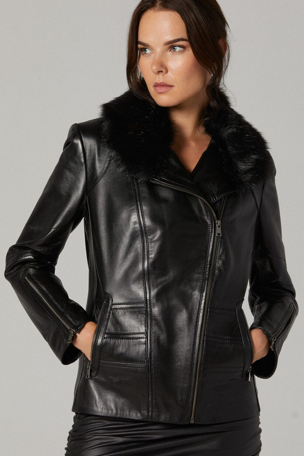 Black Leather Jacket With Fur
