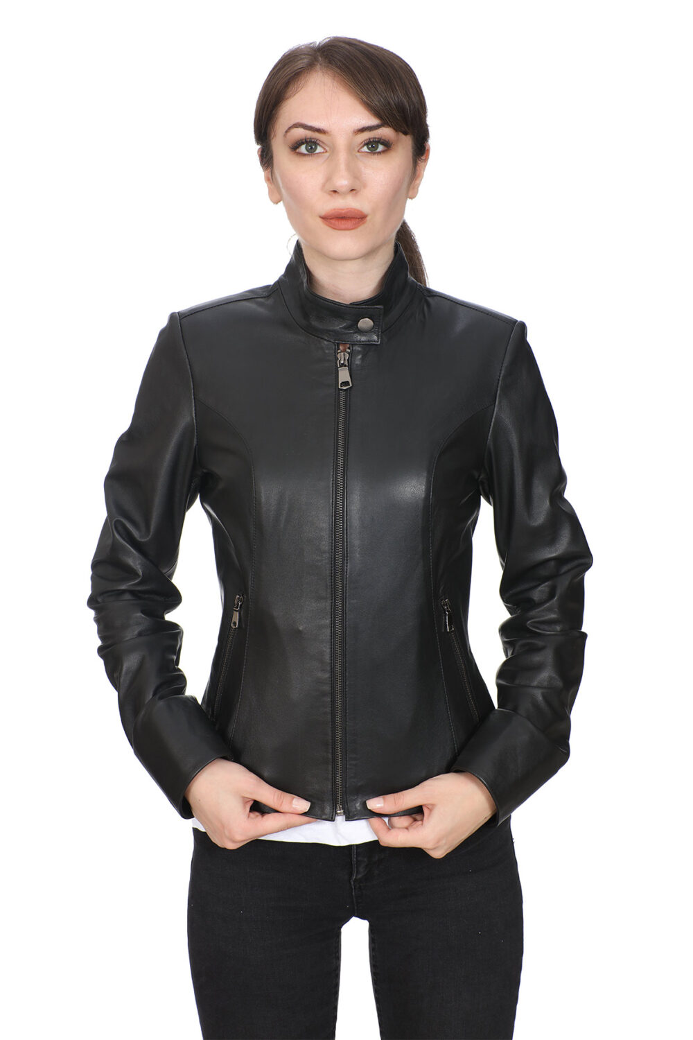Dunhill Black Leather Biker Jacket