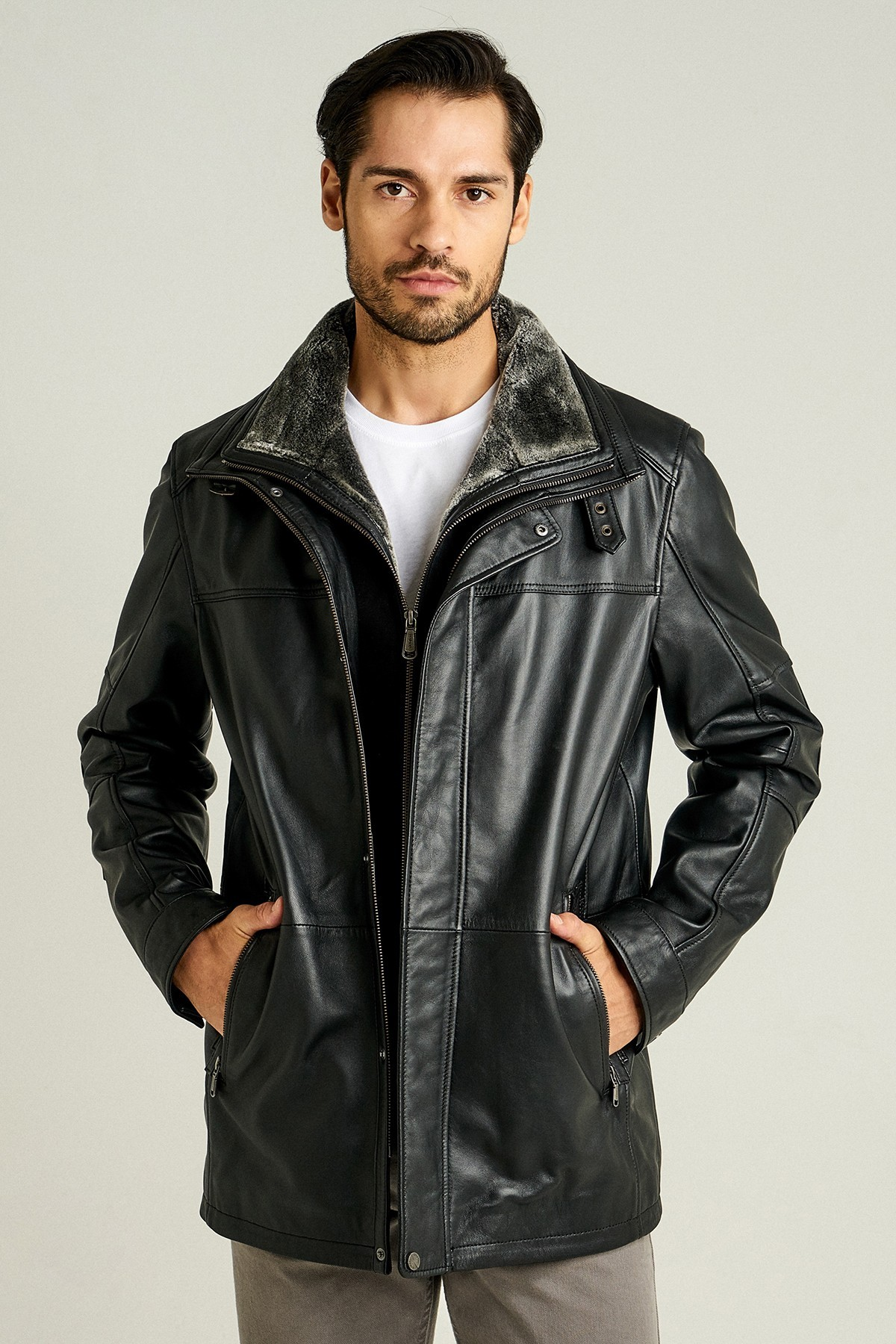 Mens Leather Jacket With Fur Inside