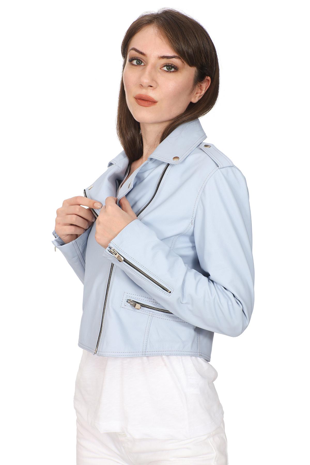 Blue Leather Moto Jacket