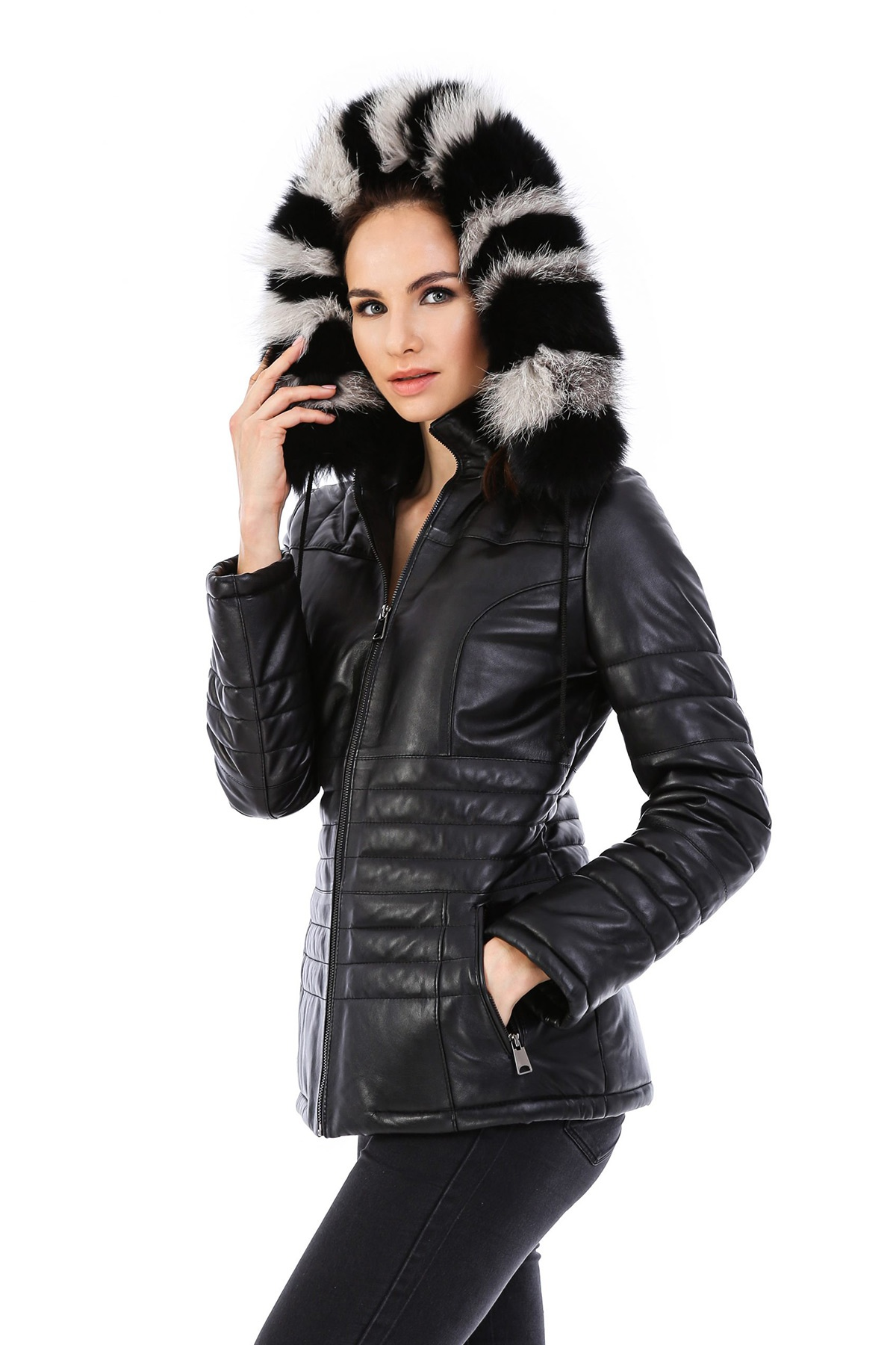 Lambskin Leather Jacket With Fur