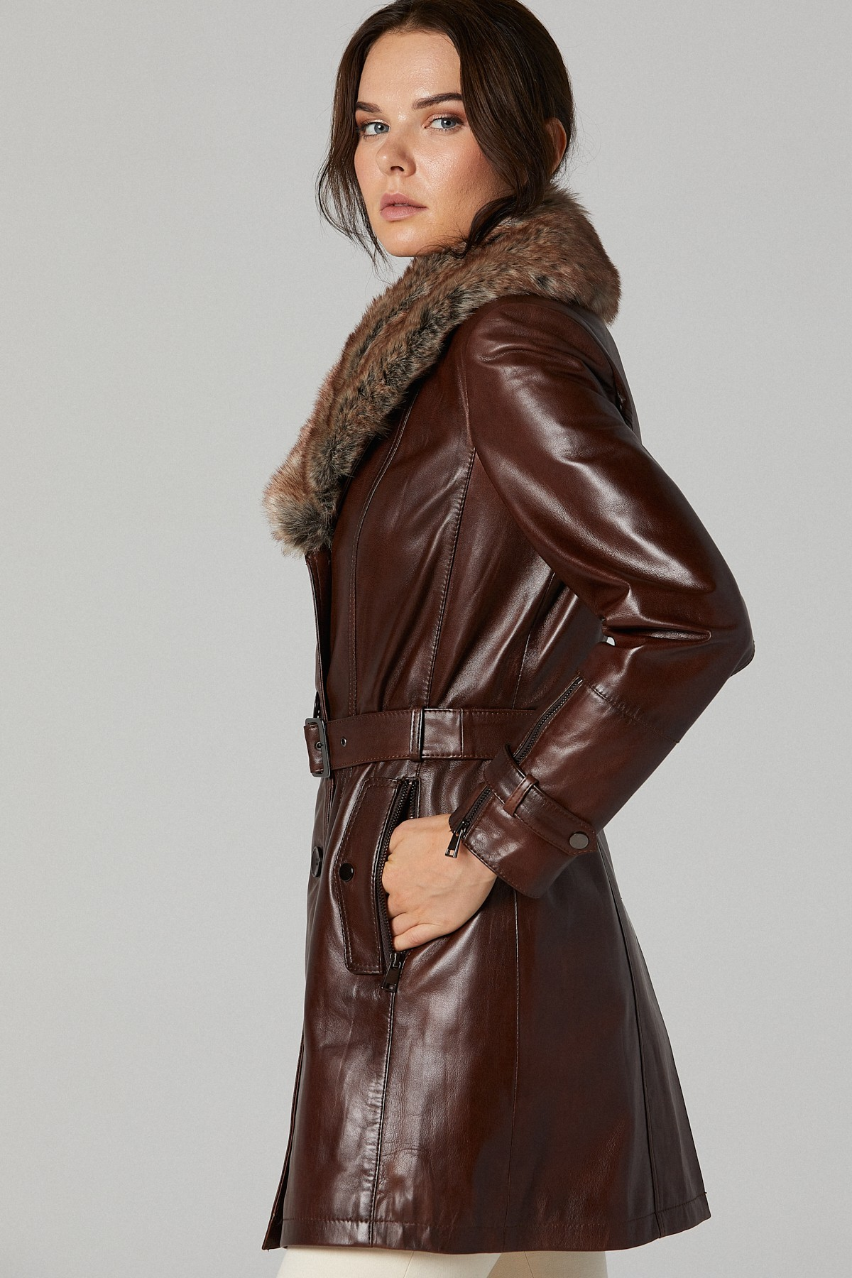 Long Leather Jacket With Fur Collar