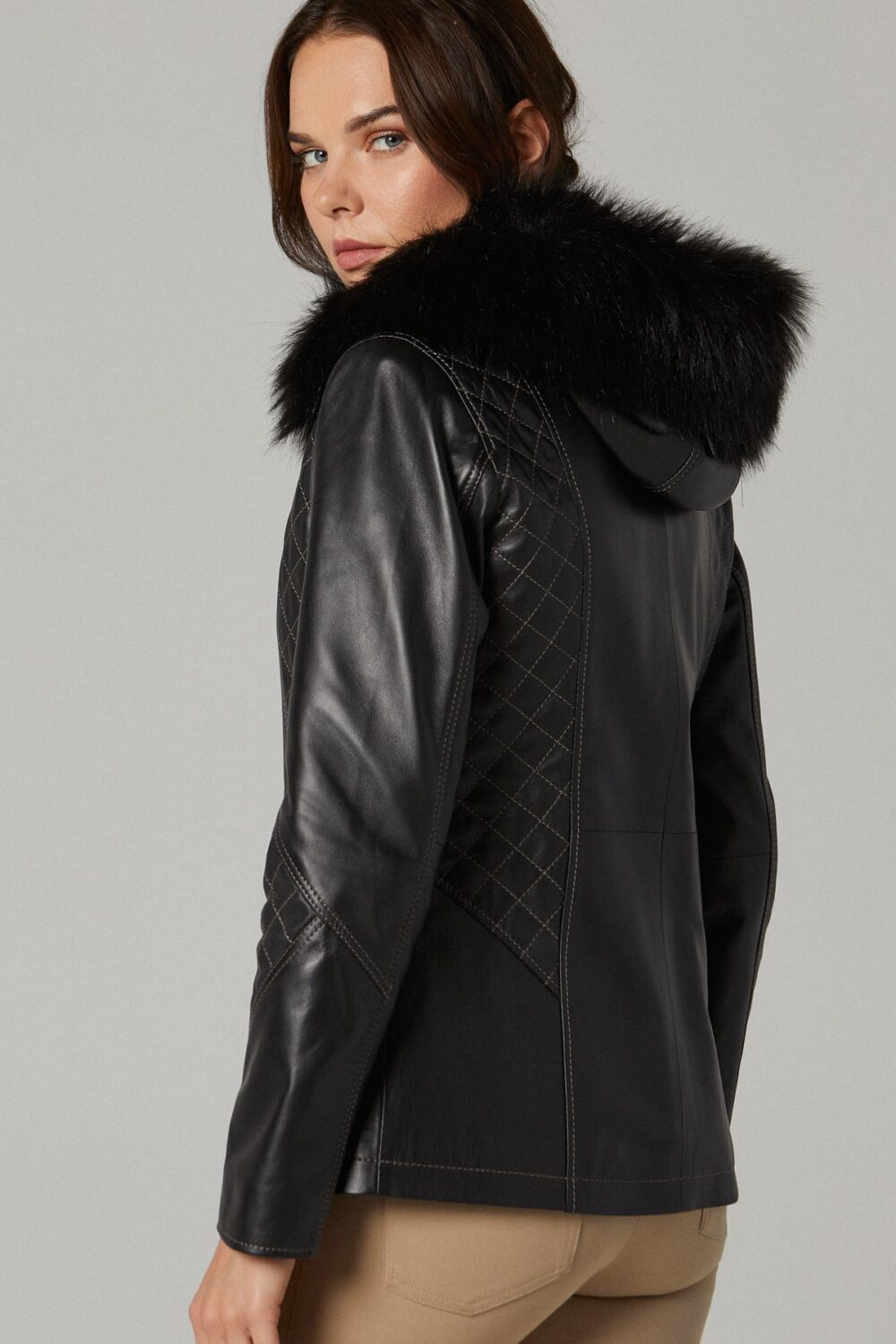 Womens Leather Jacket With Hoodie