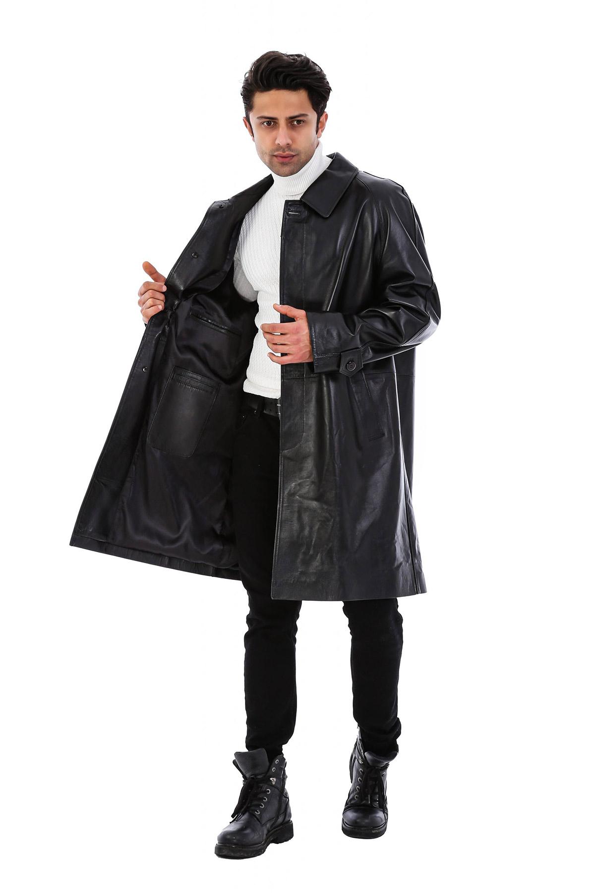 Stylish Leather Long Coat