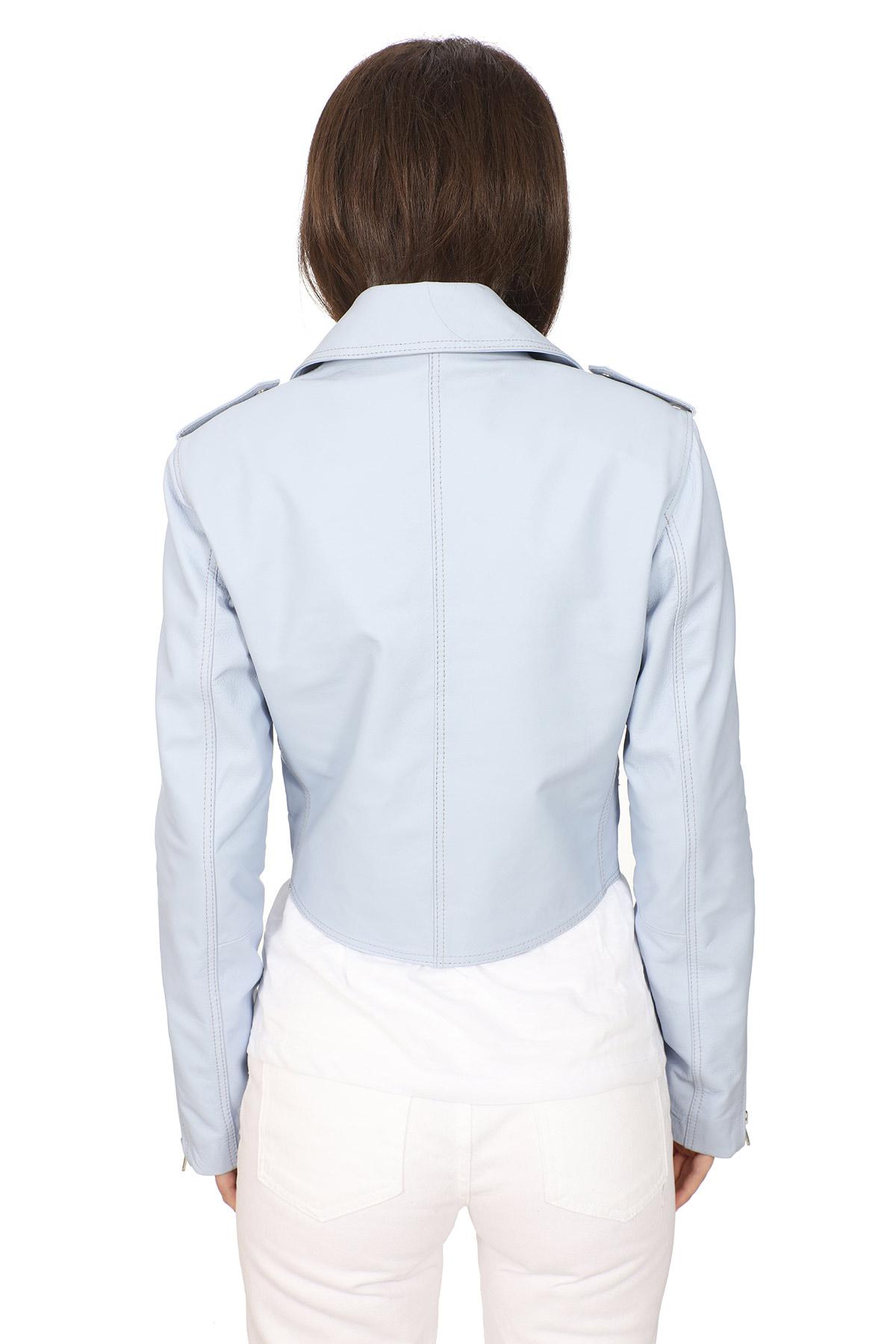 Light Blue Leather Jacket Womens